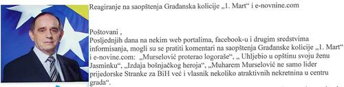 """Reagovanje na saopštenja Gradjanske koalicije """"1. Mart"""" i e-novine.com"""
